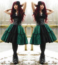 Handmade Dark Green&Black Lolita Skirt, Dracula Clothing Black Lack Corset, Gift From Ketmara Gothic Necklace, Vagabond Shoes, Diy Floral Hairpin, Lockshop Mermaid Auburn Wig