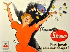 Chaussettes Stemm Gruau Socks 1950s - original vintage poster by Rene Gruau (Renato de Zavagli) listed on AntikBar.co.uk #PinsAndNeedlesDay