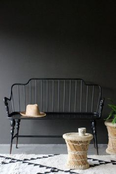 Distressed Black Bench Good on front porch, or upstairs hallway