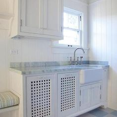 Shiplap Laundry Room with Blue Checkered Floor, Cottage, Laundry Room