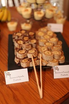 Monkey Birthday Party - Banana/Nutella and Banana/Peanut Butter Tortilla Bites  Photo by CaraBethStudio.com