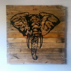 Custom Hand-crafted Designs by Doh Doh's Boutique Custom order yours today! Contact me at dohdohsboutique@gmail.com or message me on Facebook or Instagram @ dohdohsboutique !  Large reclaimed pallet wood sign, elephant silhouette, elephant head wood sign, handpainted, handcrafted, home décor, safari sign