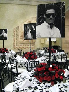 What's black, and white, and red all over? This 50 th birthday party we did at the Worcester Art Museum! I know the color scheme for the...