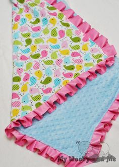 Birds in Spring Minky Baby Blanket with Satin Trim