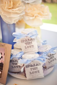 wedding favors, spread the love! I'm having my wedding at a place where they grow olive trees, maybe olive tepenade?