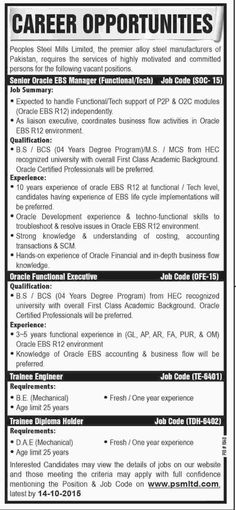 APPRENTICESHIP IN PAKISTAN STEEL MILL FOR FRESH ENGINEER,DAE