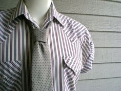 vintage western shirt with red and grey stripes size by ReRunRoom, $30.00
