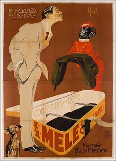 E. & A. Mele / Eleganza novità (Dandy) #vintage #poster manifesto moda #napoli www.posterimage.it