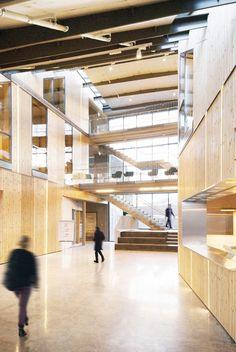 Mosfellsbær Preperatory High School / A2F arkitektar, wood, interior, stair, railing, natural lighting