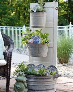 kräutergarten blumentopf alt eimer-ideen upcycling