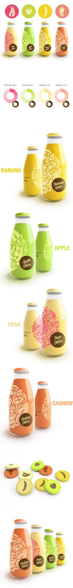 Like the colour palette of this packaging project. Packaging Project by Renan Vizzotto Juice Branding, Juice Packaging, Beverage Packaging, Bottle Packaging, Pretty Packaging, Brand Packaging, Design Packaging, Packaging Ideas, Simple Packaging