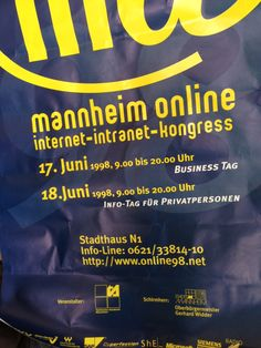 Ooold School: Mannheim Online -> Internet-Intranet-Kongress 1998 mit cyperfection.