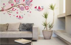 removable wall stickers - YYone Colorful Branch Tree Flowers Birds Love Shaped Removable Wall Sticker Home Decor -