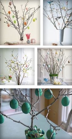 Easter trees: Put bare branches in a vase. Add (hollow) decorated eggs, Peeps, candies on ribbons. Finish off with Easter grass.