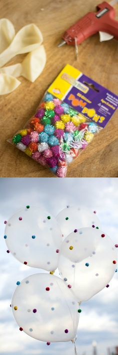 BALLOONS FUN, pom poms, polka dot, sprinkle parties you could do this for Maddie's sprinkle donuts party! Balloon Decorations, Birthday Party Decorations, Birthday Crafts, Deco Ballon, Sprinkle Party, Donut Party, Creation Deco, Partys, Unicorn Birthday Parties