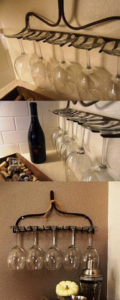 Life hack: use an old rake head for a wine glass rack