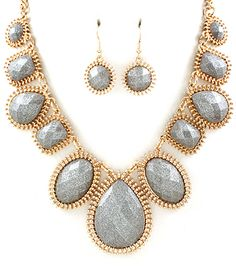SilverStones and Gold Statment Necklace