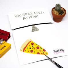 Pizza valentines card - funny valentines card - Friendship bracelet - best friend card - Pizza my heart - pizza card - Pizza bracelet by DespicablyCharming on Etsy