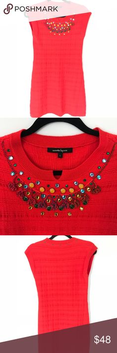 Nanette Lepore Sm Red Knit Dress w Beaded Neckline Worn only twice! Beautiful red knit dress with incredible beaded neckline, which is in pristine condition. Awesome dress for parties year round! Mini length with cap sleeves! Nanette Lepore Dresses