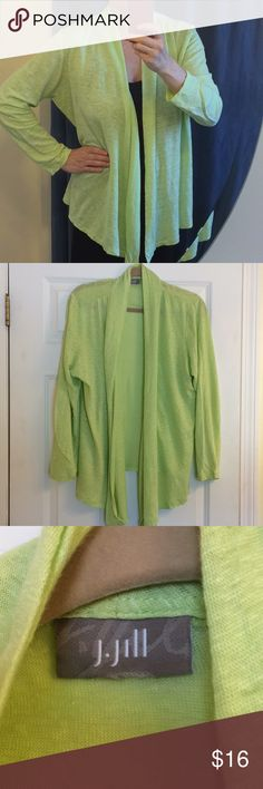 J. Jill Drape-front Cardigan Lightweight cotton cardigan in a heathered lime green & white fabric, hem lower in front.  Color most like last 3 photos.  No size tag, was altered on side seams to fit Medium but this is still oversized and could fit Large, in my opinion.  Gently loved. J. Jill Sweaters Cardigans