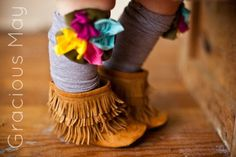 Caramel Suede Moccasin Boots baby and toddler fringe boots. $53.00, via Etsy.