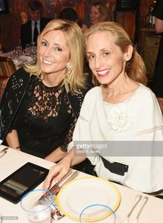 Princess Marie Chantal of Greece (L) and Pia Getty attend the Farms Not Factories #TurnYourNoseUp at Pig Factories benefit dinner 'Upstairs' at 5 Hertford Street on January 31, 2017 in London, England.