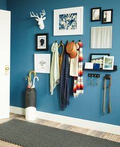 Renter-Approved: Smart Ideas for Using Adhesive Hooks & Strips In this entryway designed in collaboration with the Command brand, adhesive strips and hooks flaunt their versatility by not only attaching wall art, but by also holding hats, scarves and even a dog leash.
