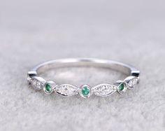 Dünne Design Diamant Ehering solide 14K Weissgold