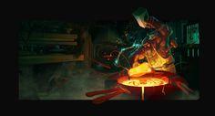 Cyclops blacksmith, Ricardo Caria on ArtStation at https://www.artstation.com/artwork/NaxDb