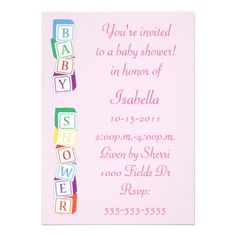 ABC Blocks for Baby Shower | Baby Alphabet Block Girl Baby Shower Invitation from Zazzle.com