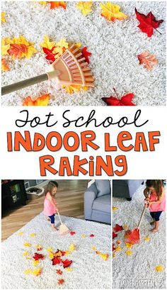 Learning is more fun when it involves movement! This indoor leaf raking activity is so much fun. Great for tot school, preschool, or even kindergarten! Fall Activities For Toddlers, Gross Motor Activities, Montessori Activities, Learning Activities, Montessori Elementary, Elementary Teaching, Teaching Ideas, Teaching Reading, Stem Learning