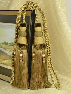 6 Colors QYM13 Faux Silk Curtain Tassel Tie Backs in Brown Color