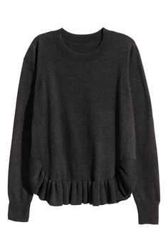 Fine-knit jumper with a frill   H&M