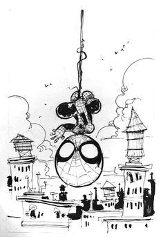 Baby Spidey by Skottie Young. Convention sketch from cherrycapitolcon (Source) Baby Spiderman, Baby Marvel, Chibi Marvel, Marvel Art, Marvel Heroes, Comic Book Artists, Comic Artist, Comic Books Art, Famous Superheroes