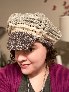 My very first crochet design! The light grey portion includes retro reflective ribbon to increase visibility at night! Crochet Designs, Ribbon, Challenges, Cap, Retro, Night, Grey, Fashion, Tape