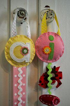 monogrammed felt hair clip holder