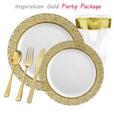 white with gold lace plastic tableware package