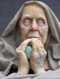 blue - old woman - egg - sculpture - Artodyssey: Michaela Groeblacher