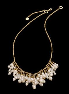 Summer Pearl Cluster Necklace 18k Solid Gold and por GoldArtJewelry, $980.00
