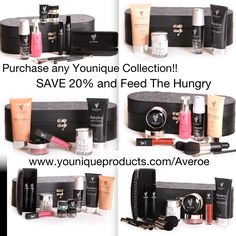 Purchase any one of six younique collections and you will -- Feed the hungry, save 20% off individual retail price and get amazing products!! What more can you ask for?!!!! Www.youniqueproducts.com/Averoe
