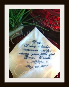 monogrammed hankerchief Wedding Gift  Father of the Bride  Custom phrase  by iBOWZ on Etsy, $25.00