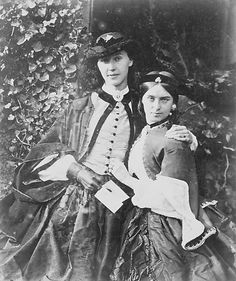 1861-62, Young ladies having fun for a photo.