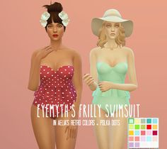 """egosandlies: """"1.6k Followers Gift: Part II of II I recolored Eyemythsims' frilly swimsuit with Aelia's Retro Colors (my fave) and added a few polka dot recolors near the end. PLEASE NOTE: You need a..."""