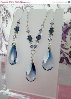 50% OFF SALE Blue or Pink Necklace Earring Set Swarovski pendants long sterling silver earring silver plated chain women gift set tear drop