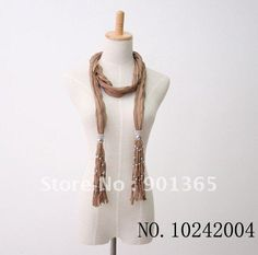 Women's Scarf Jewelry 2012 Pendant Scarves Discount Fashion Fringed Design Scarves 12 Colors $39.00