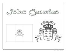 CANARIAS ESCUDO Y BANDERA JUGARYCOLOREAR2pg 1 Canario, Comics, Colouring, Alphabet Soup, Free Coloring Pages, Coat Of Arms, Crafts For Kids, One Day, Travel