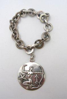 Vintage Margot De Taxco Silver Zodiac Sagittarius Charm Bracelet
