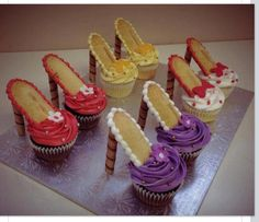 Spring cupcakes, High heel cupcakes, great for a tea party or tween birthday!