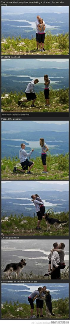 Popping the question as the camera kept snapping pics. Hi future husband, I'll say no if you don't do this.