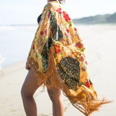 Deluxe Silk & Burnout Velvet Kimono with Beautiful Fringed Edges.